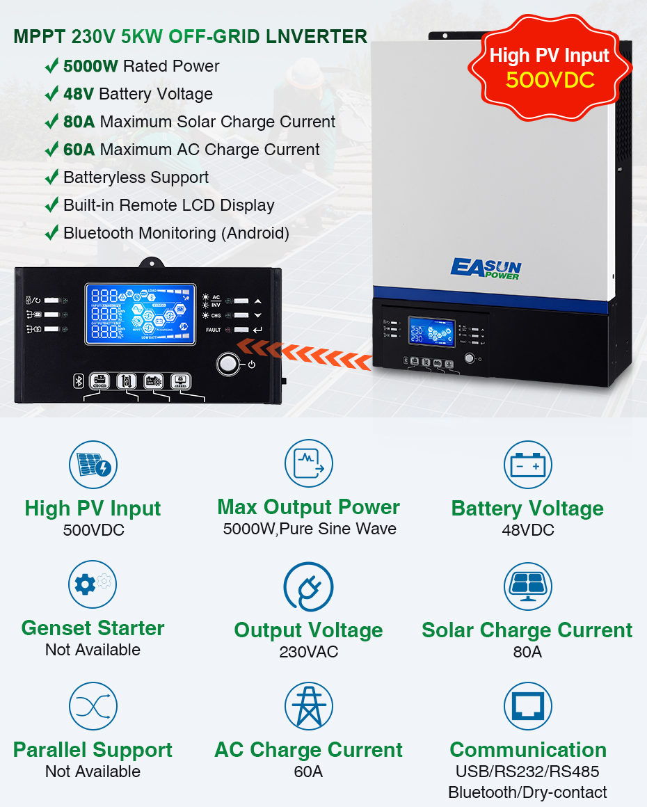 EASUN POWER USB Bluetooth 5000W Inverter 500Vdc PV Input 230Vac 48V 80A MPPT Solar Charger Support Mobile Monitoring LCD Control