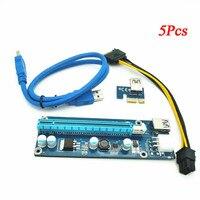 5 Pcs PCI-E Express USB3.0 1x to16x Extender Riser Card Adapter SATA Power Cable A8