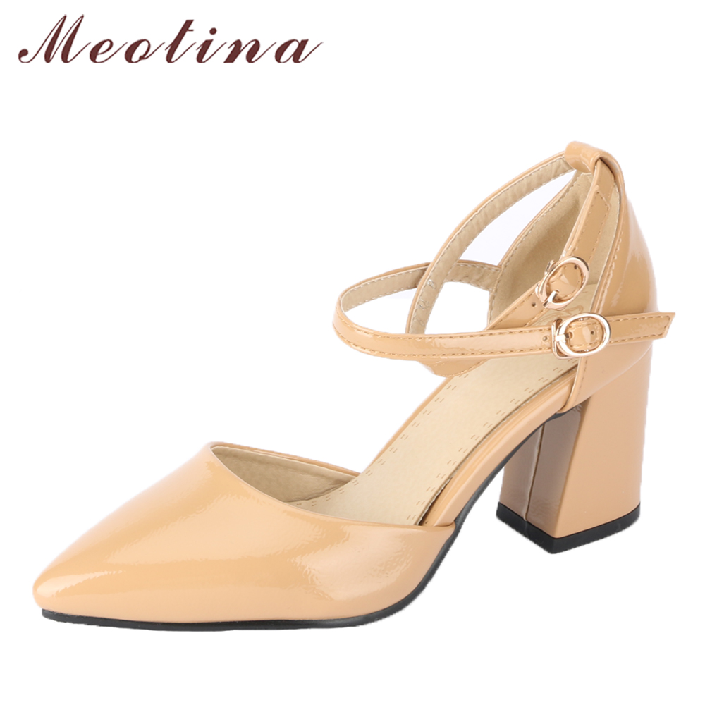 Meotina Women High Heels Pointed Toe Party Shoes Ankle Strap Thick Heel Pumps Footwear Elegant Shoes 2018 Fashion Big Size 33-46 pu pointed toe flats with eyelet strap
