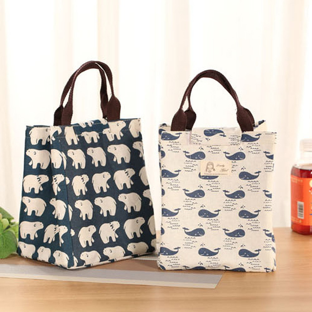 Portable Lunch Bag Insulated Canvas Thermal Food Picnic -8739