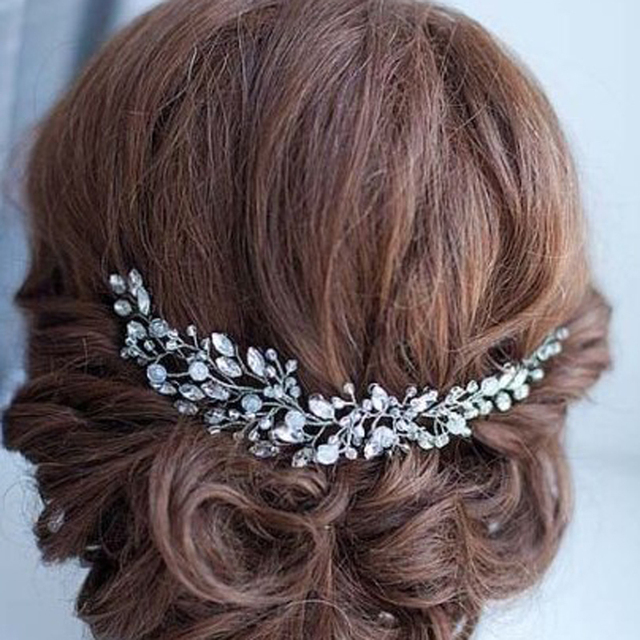 Handmade Beads Crystal Bridal Hair Flower Rhinestone Hair Jewelry Prom  Headdress Headpieces Women Girls Wedding Hair 86a2d9e8491d