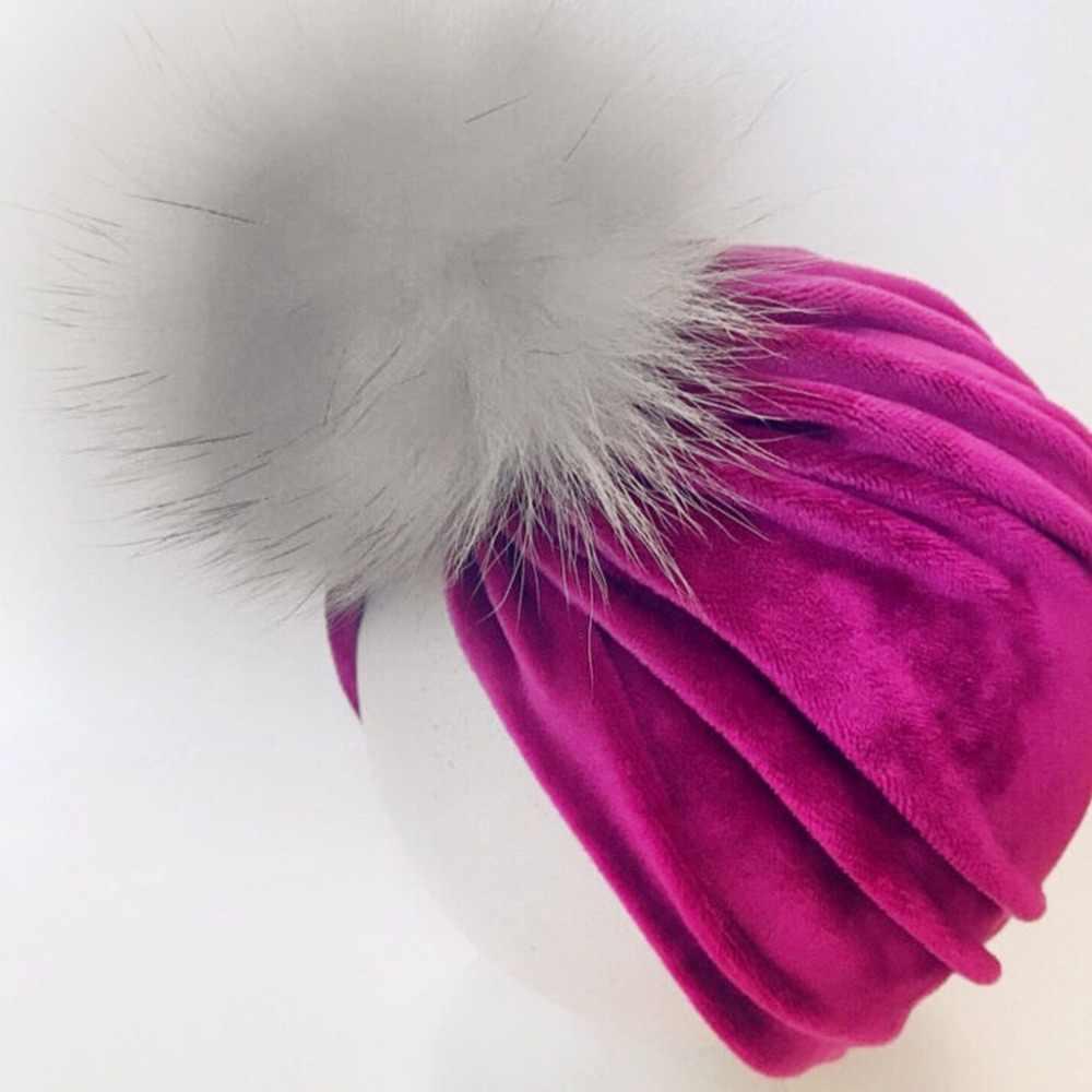 الرضع طفل الفتيات الشتاء بريق المخملية قبعة عمامة منفوش Pompom الكرة Ruched مطوي قبعة قبعة بلون معقود الأذن أدفأ P