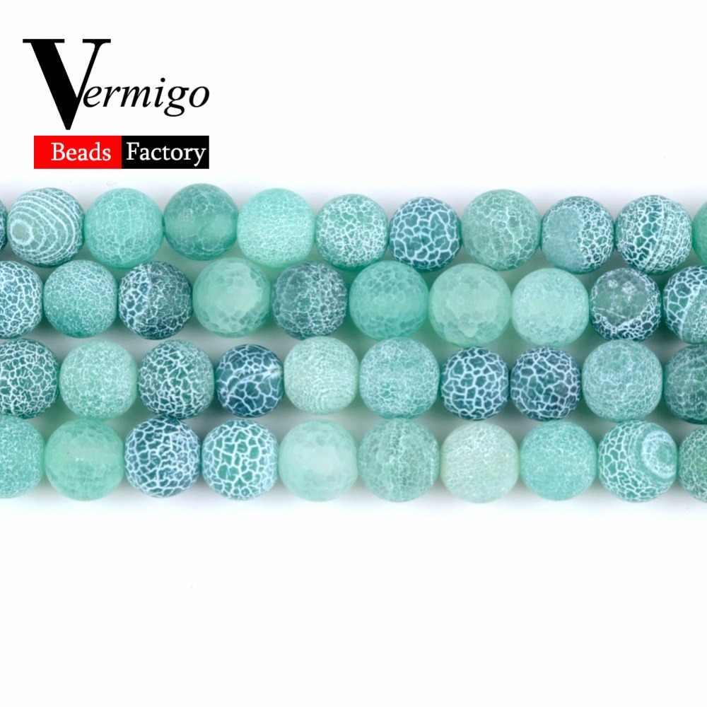 4 6 8 10 12mm טבעי אבן מט אוניקס חרוזים להכנת תכשיטים כפור סדוק ירוק Agates חרוזים Diy צמיד שרשרת 15 סנטימטרים