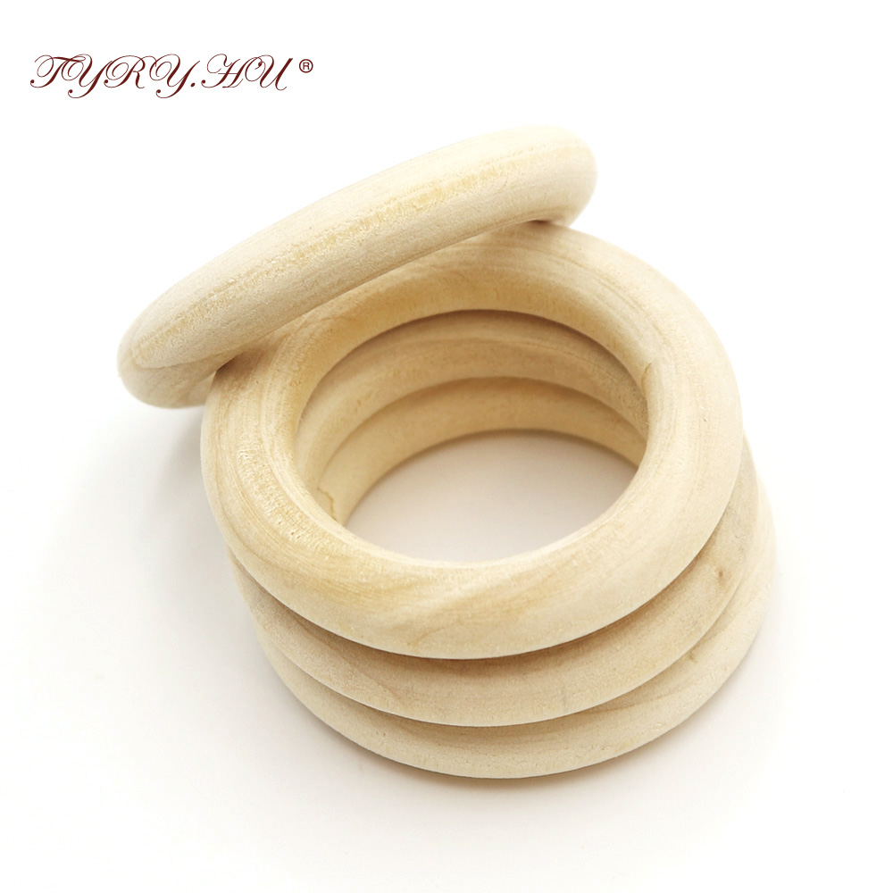 TYRY.HU Wooden Teether 70MM Baby Teething Ring Round Wood Teether For Babies DIY Crochet Toys Accessories 5pc/lot