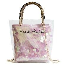 2PCS / LOT Small Handbag Transparent Women Hand Bags Chain Straw bag Lady Travel Beach Shoulder Cross Body Bag Lash package
