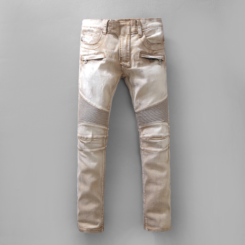 Balmain jeans Men The Top Skinny Fashion jeans swag ripped hole denim pants casual  joggers distressed jeans homme biker trousers jeans 2018-in Casual Pants  from Men's ...