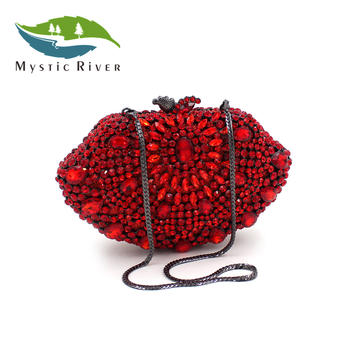 Mystic River Mujeres Moda Bolsos de Noche de Cristal Forma de Concha de La Boda