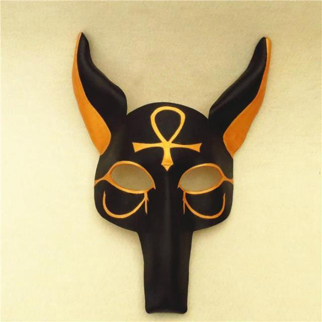 Egypt Anubies Canis spp Wolf Head Cosplay Mask Half Face High Quality Leather for Party Halloween Props Fancy Dress Ball стоимость
