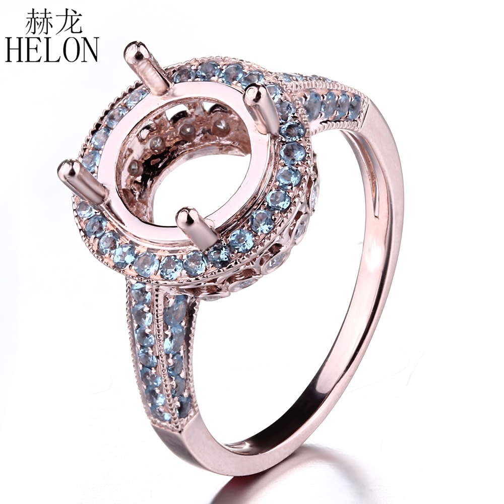 HELON 7.5- 10mm Round Solid 10K (417) Rose Gold 1.06ct 100% Genuine Blue Topaz & Natural Diamond Wedding Semi Mount Jewelry Ring solid 14k rose round 13mm gold diamond natural blue topaz ring wedding ring hot sale