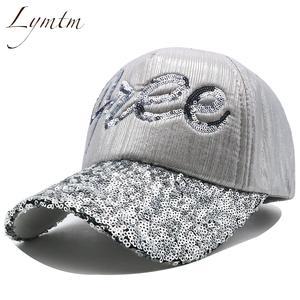 eeec8c481852c Lymtm Sequins Letter Baseball Caps Sun Adjustable Adult Hat
