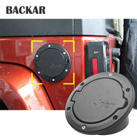 BACKAR Auto Car Aluminum Alloy Fuel Tank Cap Fuel Door Gas Tank Cover Car Styling Accessories Fit For 2007 2017 Jeep Wrangler JK