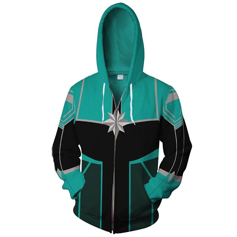 2018 new Captain Marvel Cosplay hoodie green Battle suit man women Hot Jacket Hoody Zipper Sweatshirt Women/man Tracksuits tops