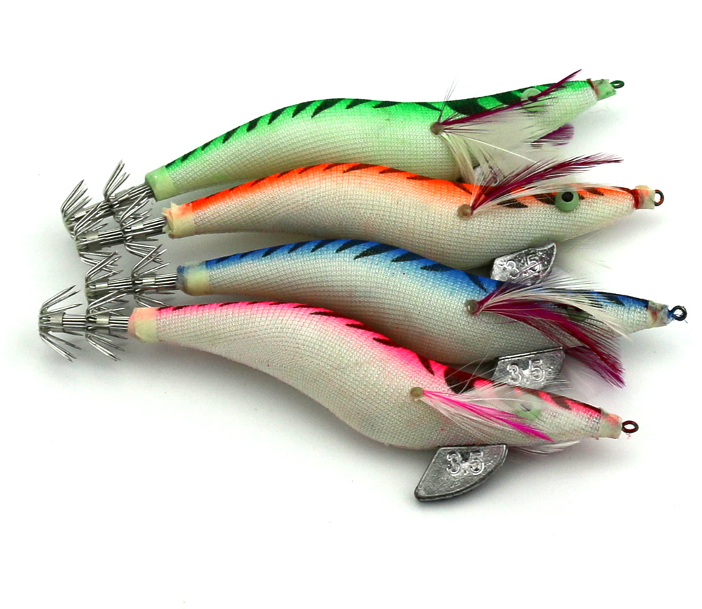 10pcs 13.5cm Squid Jigs Hook Wooden Shrimp Artificial Fishing Lures Fishing Bait