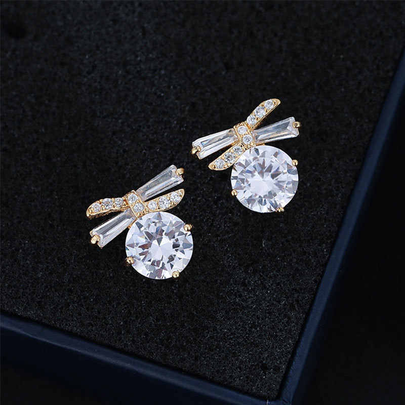 Bonito Bowknot Cristal Brincos de Moda Feminina de Luxo 925 Brincos de Prata Do Parafuso Prisioneiro de Ouro Para As Mulheres Do Vintage Boho Brincos Duplas