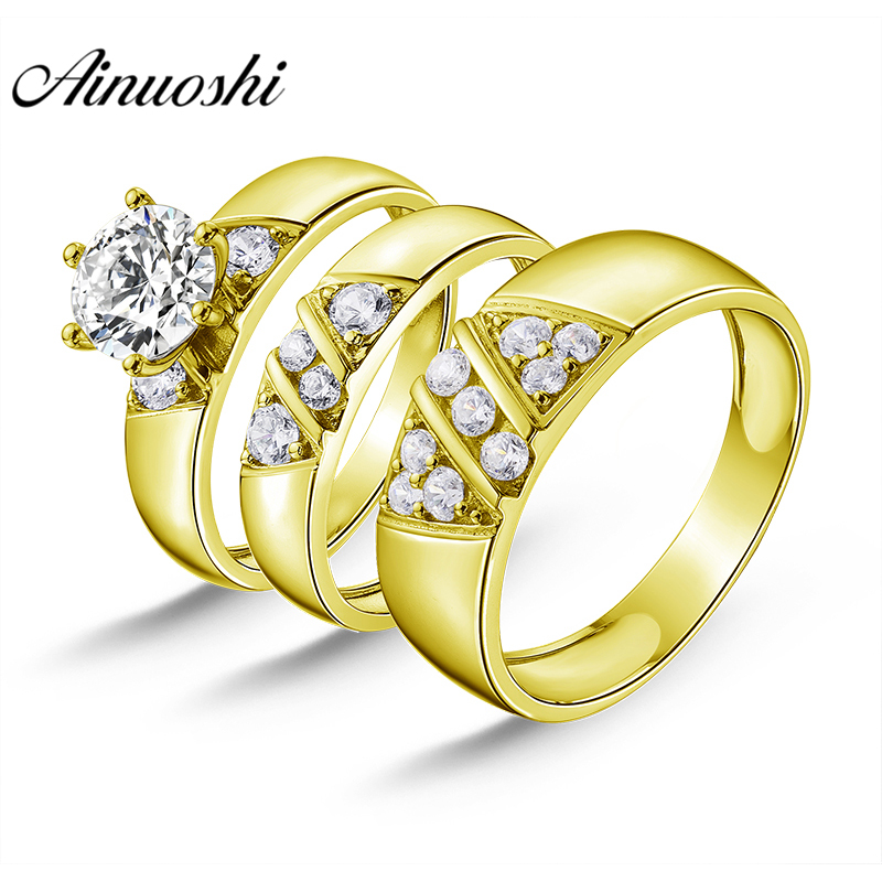 AINUOSHI 7.9g Real Gold TRIO Rings Bridal Ring Set Lovers Wedding Engagement Jewelry 10K Yellow Gold Couple Wedding Rings SetAINUOSHI 7.9g Real Gold TRIO Rings Bridal Ring Set Lovers Wedding Engagement Jewelry 10K Yellow Gold Couple Wedding Rings Set