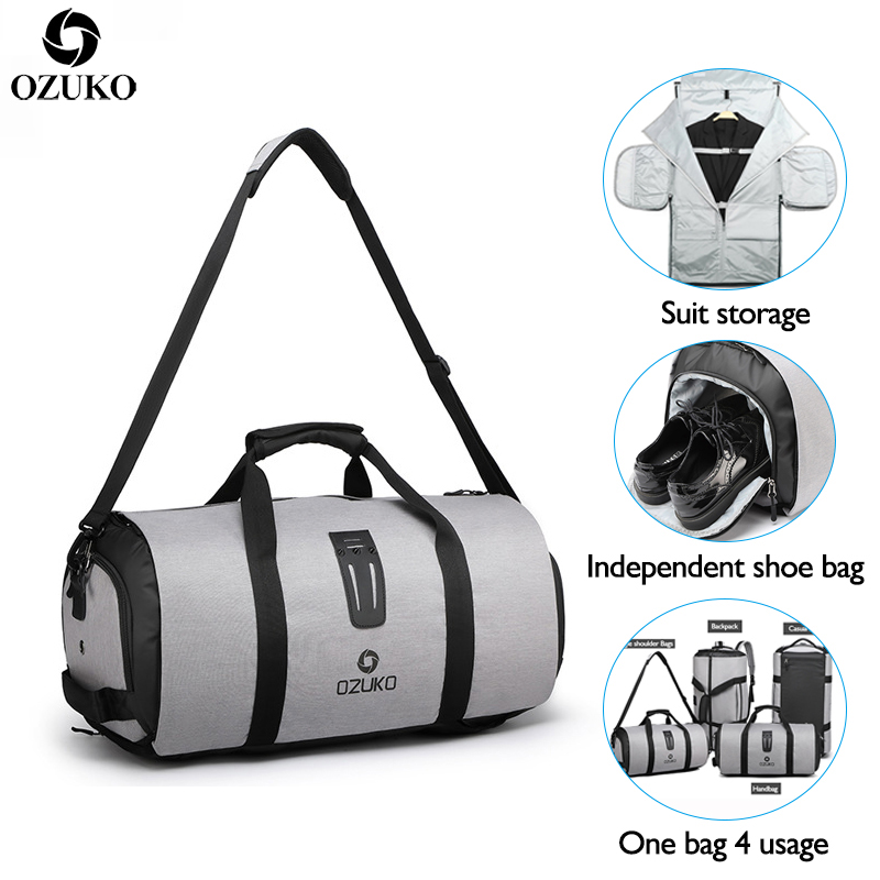 OZUKO Multifunction Men Travel Bag Large Capacity Waterproof Duffle Bag Suit Storage Hand bag Trip Luggage