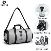 OZUKO Multifunction Men Travel Bag Large Capacity Waterproof Duffle Bag Suit Storage Hand bag Trip Luggage Bags with Shoe Pouch