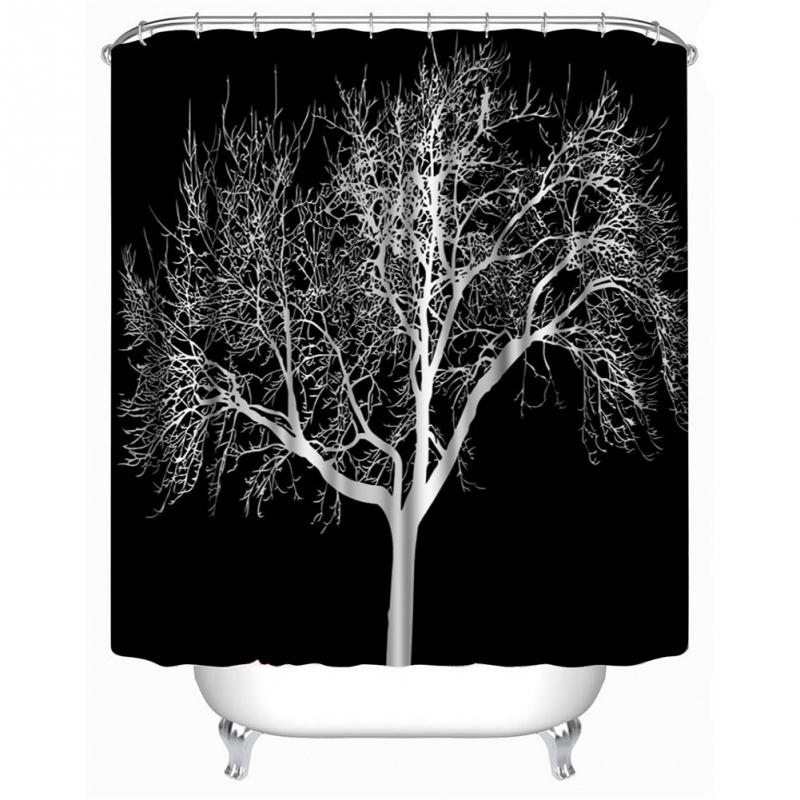180X180cm Latest Design Black Snow Big Tree Printed Polyester Shower Curtain Bathroom Trees Curtains Hot Selling In From Home
