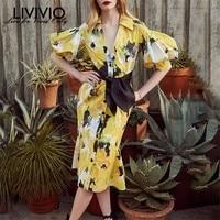 [LIVIVIO] летнее повседневное женское платье с принтом, с отворотом, с пышным плечом, с завязкой в виде банта, длиной до колена, платья женские мо...