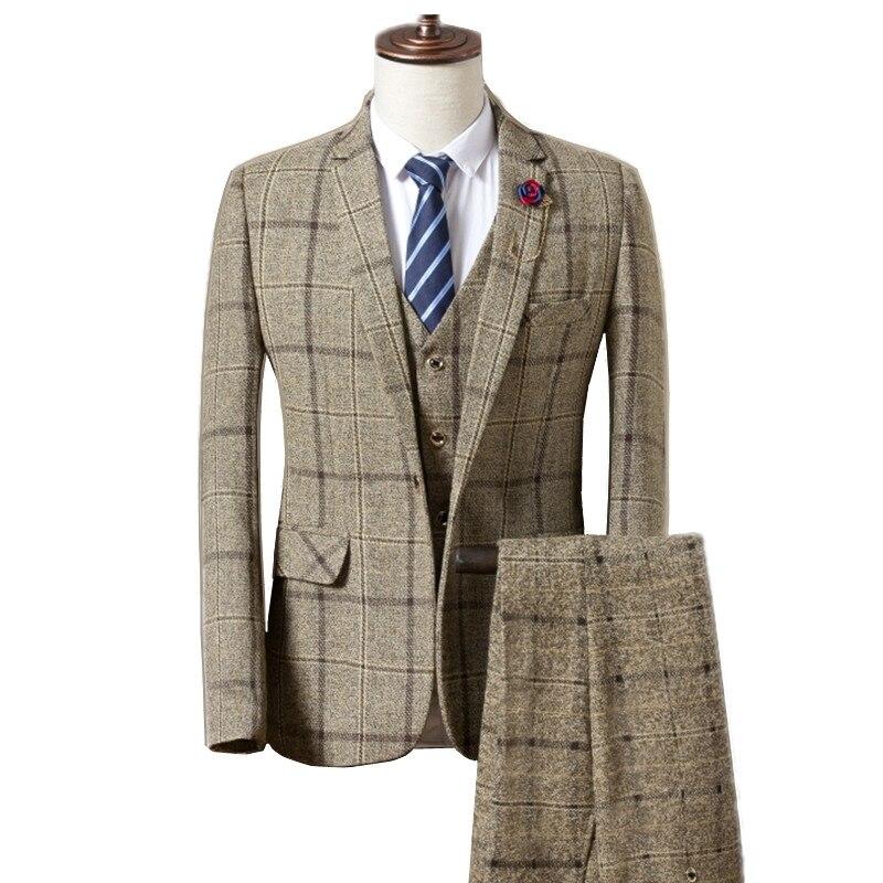 2019 Fashion Men's Casual Business Suits Sets / Men's single button lattice plaid suit jacket blazers coat trousers pants vest