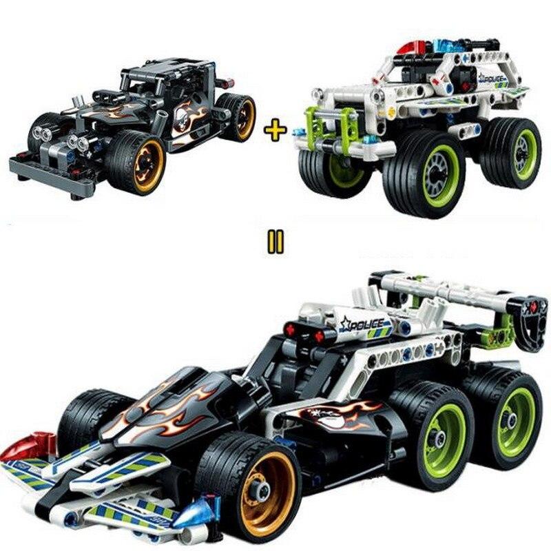3417 3418 City Creator Police Interceptor Getaway Racer Model Building Blocks Enlighten Figure Toy For Children Compatible Legoe