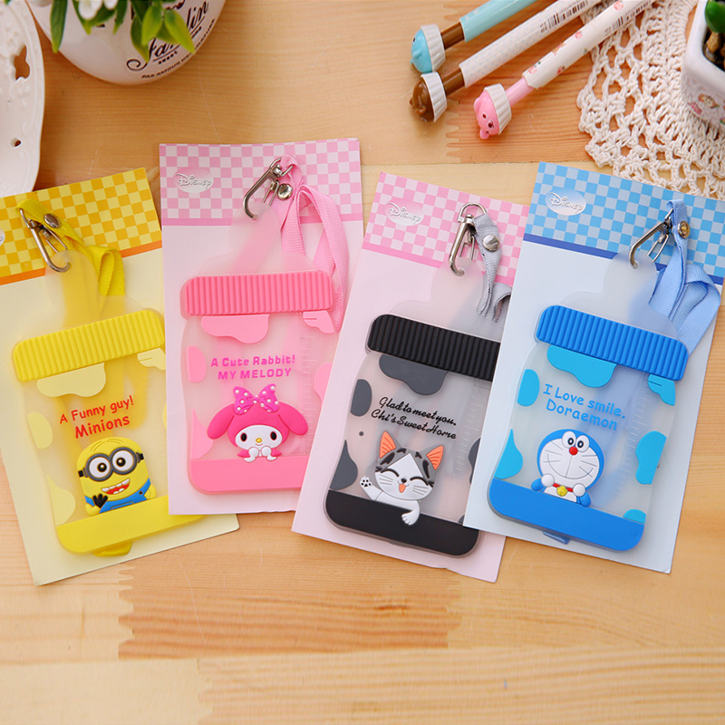 Creative Bottle Cartoon Silicone Card Sets Cute Bus Lanyard Students Three - Dimensional Silicone Documents Protective Cover