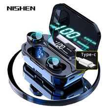G02 V5.0 블루투스 스테레오 이어폰 무선 IPX7 방수 터치 이어 버드 헤드셋 3300mAh 배터리 LED 디스플레이 Type c 충전 케이스