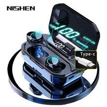 G02 v5.0 bluetooth fone de ouvido estéreo sem fio ipx7 à prova dwaterproof água toque fones de ouvido fone de ouvido 3300mah bateria display led tipo c caso de carga