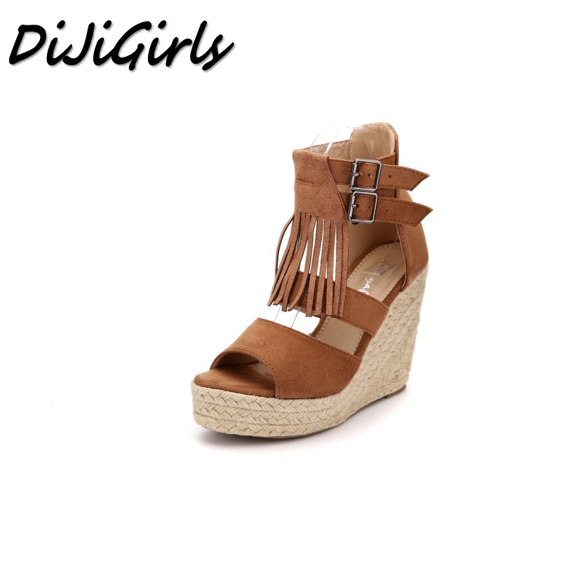 DiJiGirls Women Fashion Weave hemp rope sandals high heels shoes woman Fringe Platforms shoes sexy ladies Rome Wedges shoes 2017 summer women shoes platform wedges sandals high heels woman casual shoes fashion hemp rope rivet punk roman gladiator shoes