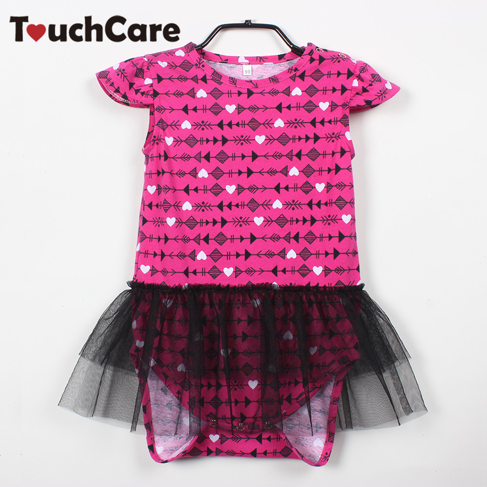 Touchcare Newborn Baby Girl Romper Lace Arrow Heart-Shaped Printed Baby Rompers Flying Short Sleeve Jumpsuit Princess Baby Dress