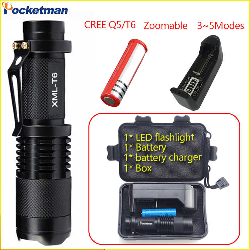 T6/Q5 LED Flashlight Waterproof Zoomable Torch 3-5modes Mini Light Tactical Torch for 18650 / 14500 Rechargeable Battery