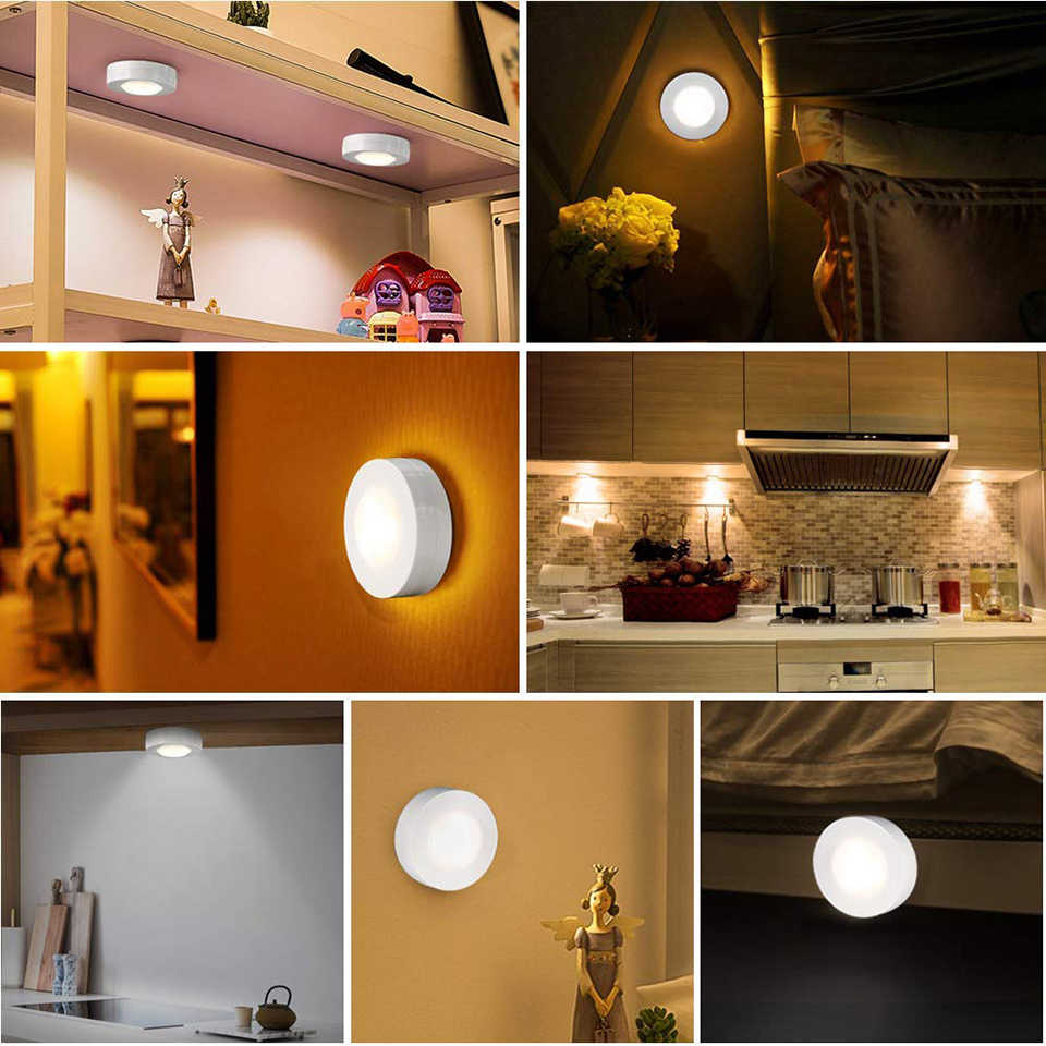 Cabinet Light Wireless Dimmable Touch Sensor Dual Color LED Night Lamps Battery Power Remote Control Suitable for Kitchen Stair