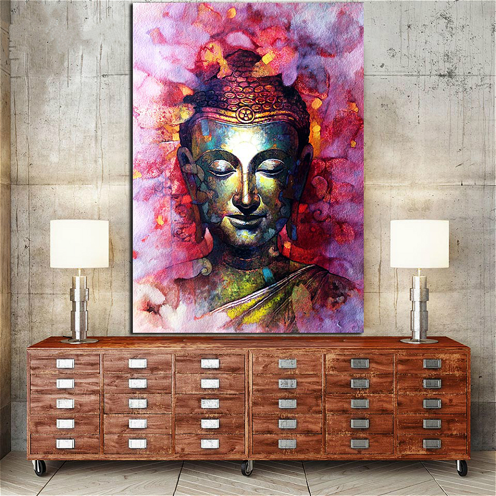 Giclee Print 1 Piece Watercolor Buddha Portrait Painting Print on Canvas Office Home Decor Poster Zen Abstract Picture Wall Art in Painting Calligraphy from Home Garden