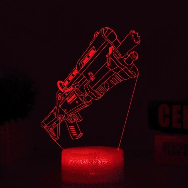 3D Scar Lamp Rocket Launcher LED Night Lamps Fortnite 3D Lights 7 Color Changing 1