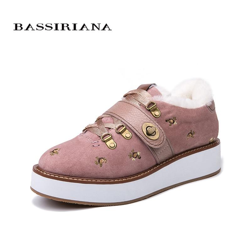 BASSIRIANA Hiver 2018 nouvelles chaussures plates, femmes de chaud d'hiver naturel Chaussures En Daim Noir Rose Taille 35-40 livraison gratuite