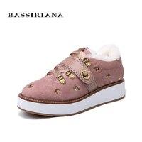 BASSIRIANA/зима 2018 новые туфли на плоской подошве, Для женщин теплые зимние из натуральной замши обувь черный, розовый Размер 35–40 Бесплатная дос...