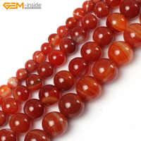 Gem-inside 6-20mm perles en pierre naturelle en vrac bandes rouge Sardonyx Agates perles pour la fabrication de bijoux perles 15 pouces bricolage perles bijoux