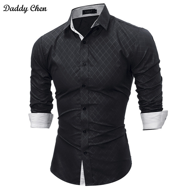 Casual Dress Shirt Men Slim Fit Style Male For Boys Shirts Mens Long