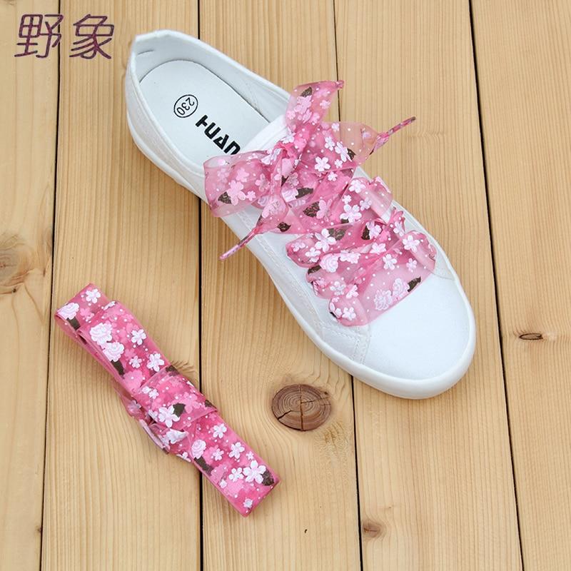 2.8cm printed  floral shoelaces patterned laces nylon shoe lacing Widen decorated shoelace green pink blue purple flat shoelaces