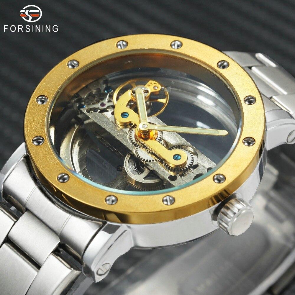 цена на 2018 Top Brand Luxury Golden Bridge Auto Mechanical Watches for Men Silver Stainless Steel Strap FORSINING Skeleton Wristwatch