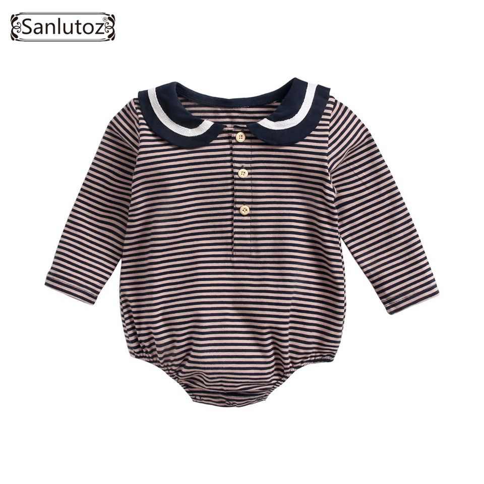 Sanlutoz/Одежда для новорожденных; хлопковые боди с длинными рукавами для маленьких девочек; осенне-зимняя одежда в полоску для младенцев