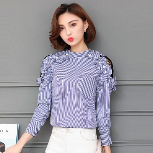 2017 Nova Moda Primavera Mulheres Camisas Off Ombro Oco Out Manga Comprida Listrada Oblique Collar Blusa Top Azul