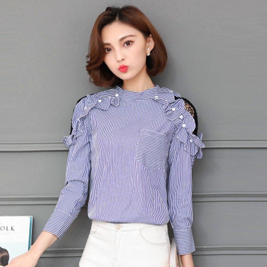 2017 Nueva Primavera Moda Mujeres Camisas Hombro Ahueca Hacia Fuera el Cuello de