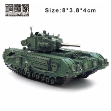 Color Churchill Tank 3D DIY Stereoscopic Metal Puzzle Nano-dimensional Assembling Model Birthday Gift Decoration Collection Toy