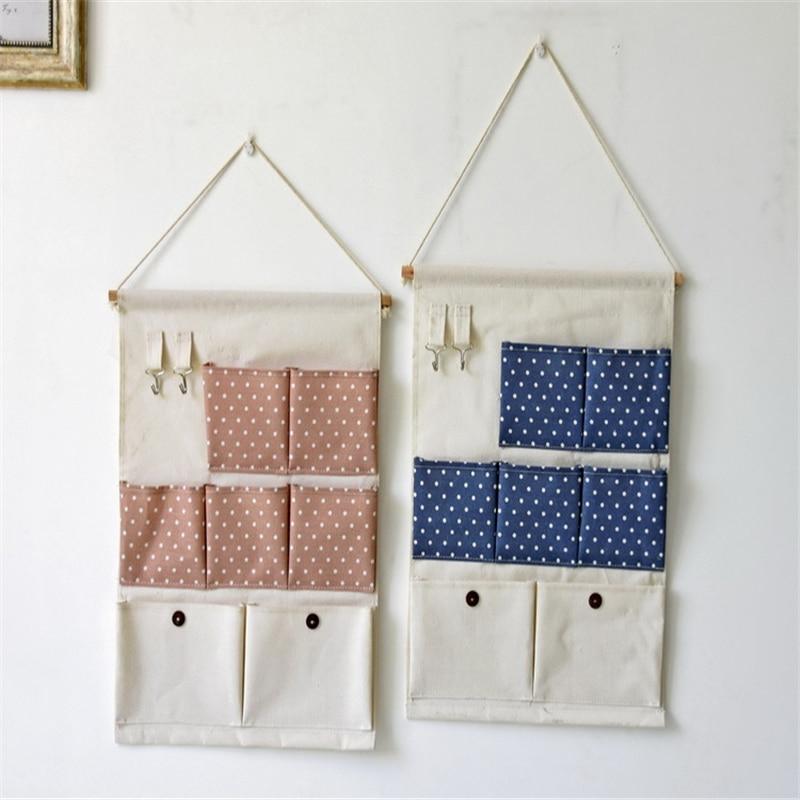 New Natural Hanging Storage Pockets Cotton Linen 7 Pockets