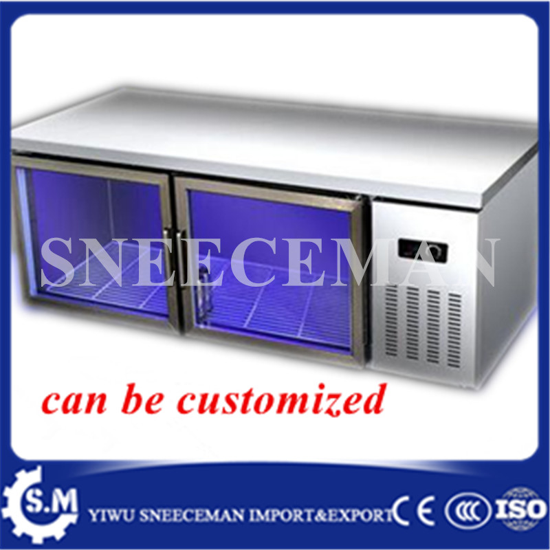 1.2 glass cold storage and freezing freezer machine commercial freezer counter cabinet  kitchen flat cold console