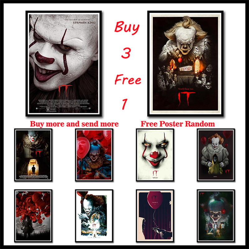 The Most Popular Horror Movie Stephen King's It White Kraft Movie Poster HD Printing Drawing Core Wall Stickers Frameless