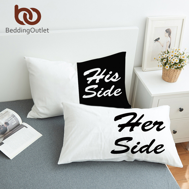 Charmant BeddingOutlet Black And White Bed Pillow Case Soft Pillowcase His Her Side  Couple Pillow Cover Gift