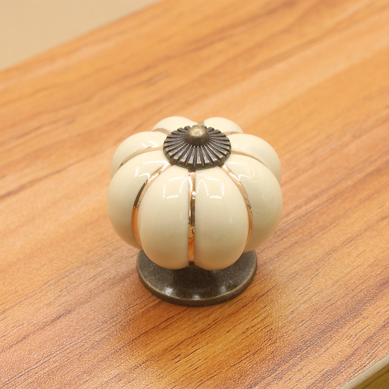 10PCS Ivory White Pumpkin Door Knobs Cabinet Pull Handle Cute Drawer Pull Knob Cupboard wardrobe closet Porcelain knobs