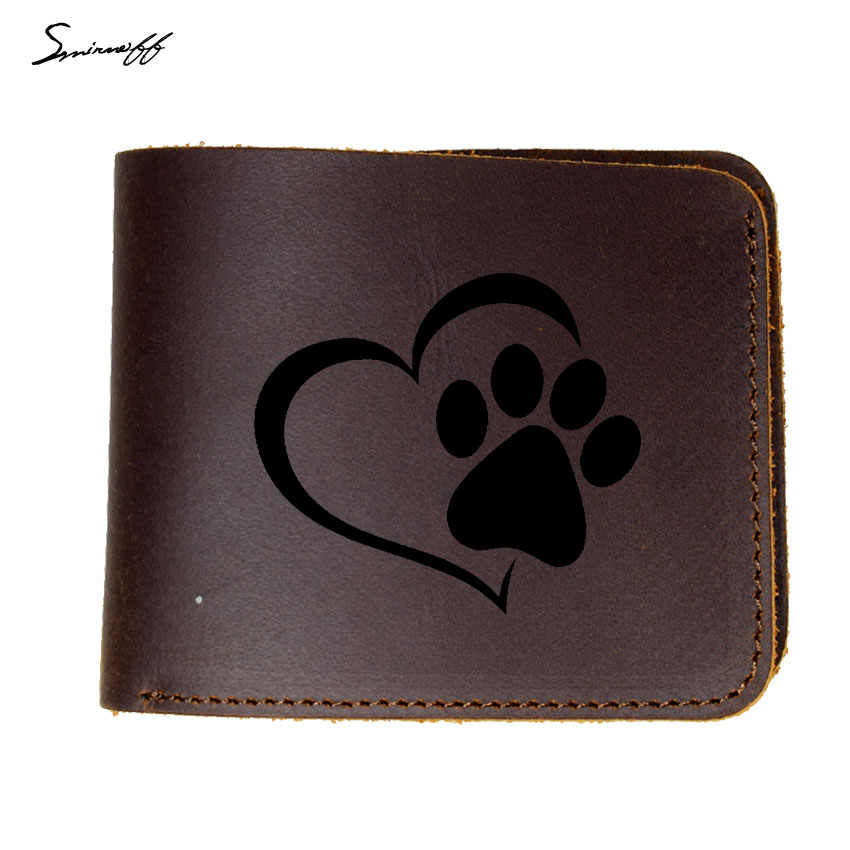 Top Quality Cow Leather Wallet Women Credit Card Holders Men Wallet engrave Engraved Love The Dog Paw Print Wallet
